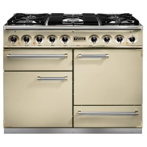 Falcon F1092DXDFCR/ 1092 Deluxe Dual Fuel Range Cooker In Cream with Nickel