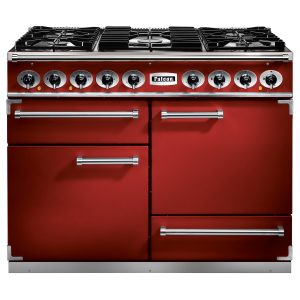 Falcon F1092DXDFRD/CM 1092 Deluxe Dual Fuel Range Cooker In Cherry Red with Chrome