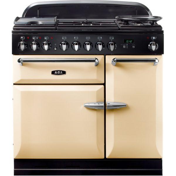 AGA MENMSF_CRM Masterchef XL Dual Fuel Cream Range Cooker 90cm