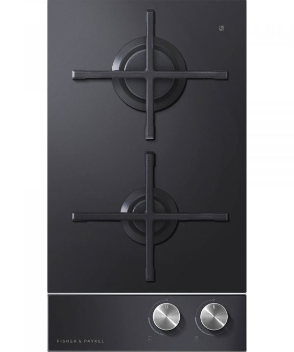 Fisher & Paykel CG302DNGGB1 30cm Built-In Two-Burner Domino Gas-on-Glass Hob - Natural Gas