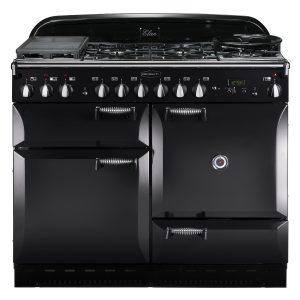 Rangemaster ELAS110DFFBL Elan 110 Dual Fuel Range Cooker - Black & Chrome