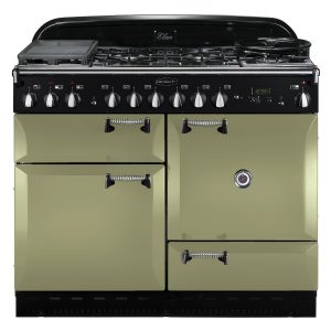 Rangemaster ELAS110DFFOG Elan 110 Dual Fuel Range Cooker - Olive Green & Chrome