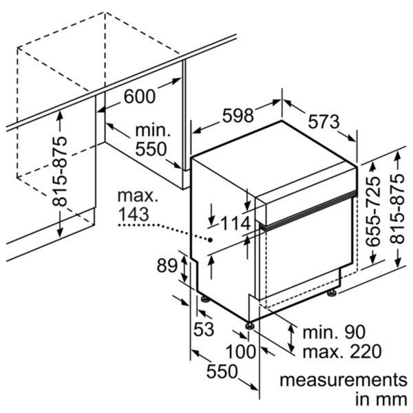 Neff S41E50W1GB Semi Integrated Dishwasher