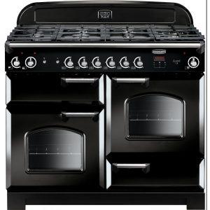 Rangemaster CLA110NGFBL/C Classic 110 All Gas Range Cooker  Black & Chrome