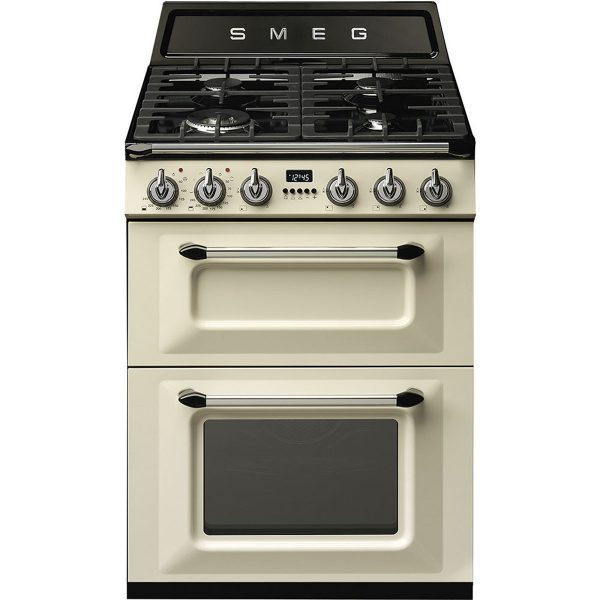 """Smeg 60cm """"Victoria"""" Traditional Dual fuel 2 cavity Cooker with Gas hob, Cream enamel finish Energy rating A/A TR62P"""