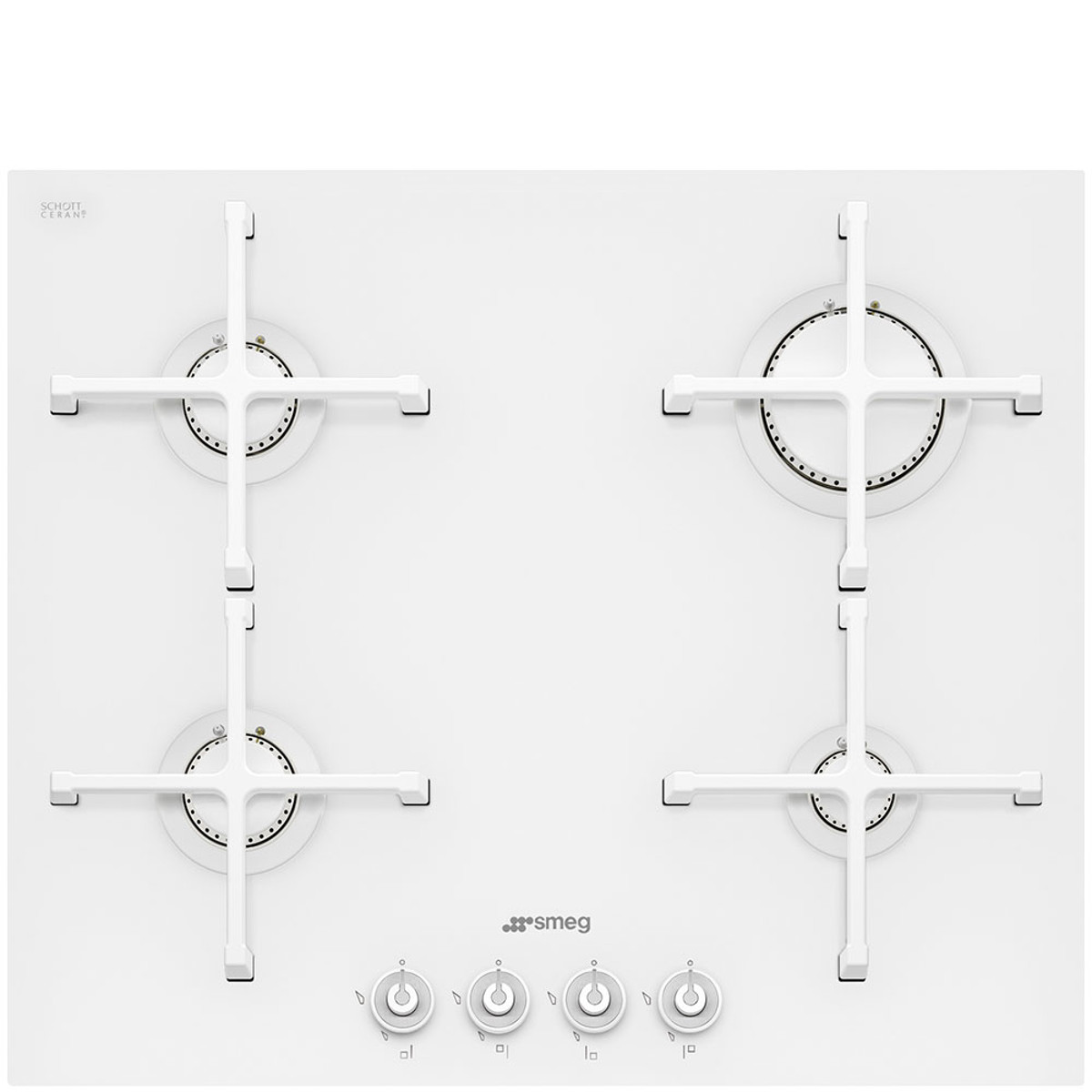 Smeg PV164CB 60cm Linea Ultra-low Profile Gas on Glass Ceramic Hob, White