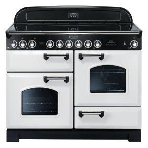 Rangemaster CDL110ECWH/C Classic Deluxe 110 Ceramic Range Cooker White & Chrome