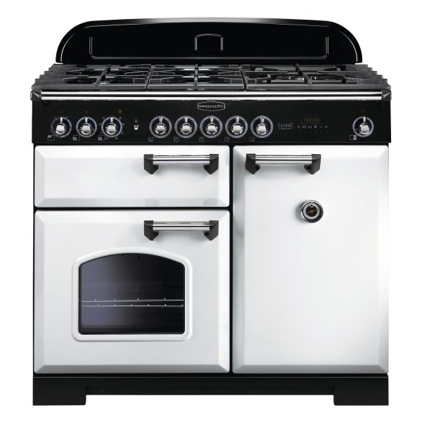 Rangemaster CDL100DFFWH/C Classic Deluxe 100 Dual Fuel Range Cooker – White & Chrome