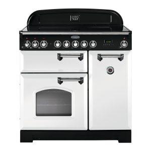 Rangemaster CDL90ECWH/C Classic Deluxe 90 Ceramic Range Cooker – White & Chrome