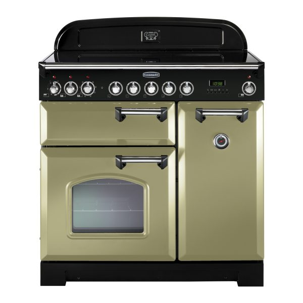 Rangemaster CDL90ECOG/C Classic 90 Deluxe Ceramic Range Cooker – Olive Green & Chrome