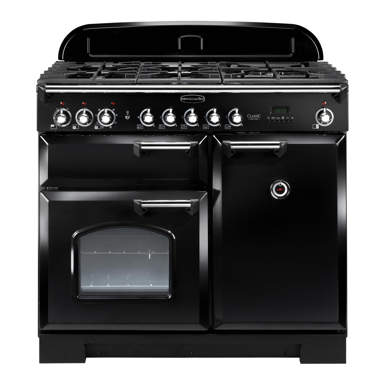 Rangemaster CDL100DFFBL/C Classic Deluxe 100 Dual Fuel Range Cooker Black & Chrome