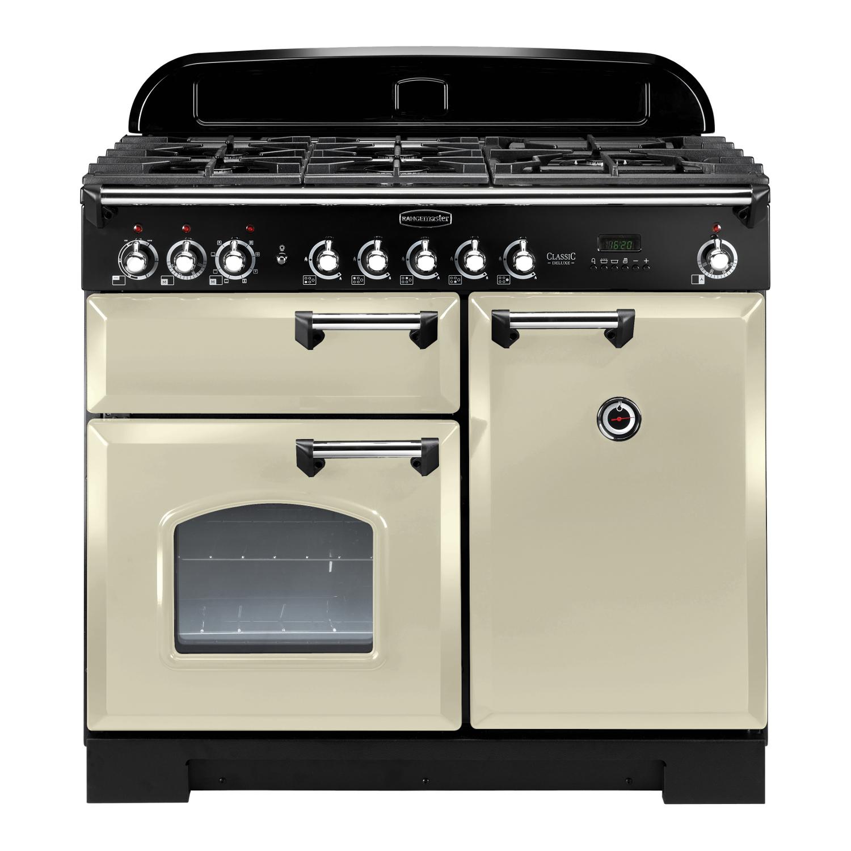 Rangemaster CDL100DFFCR/C Classic Deluxe 100 Dual Fuel Range Cooker Cream & Chrome