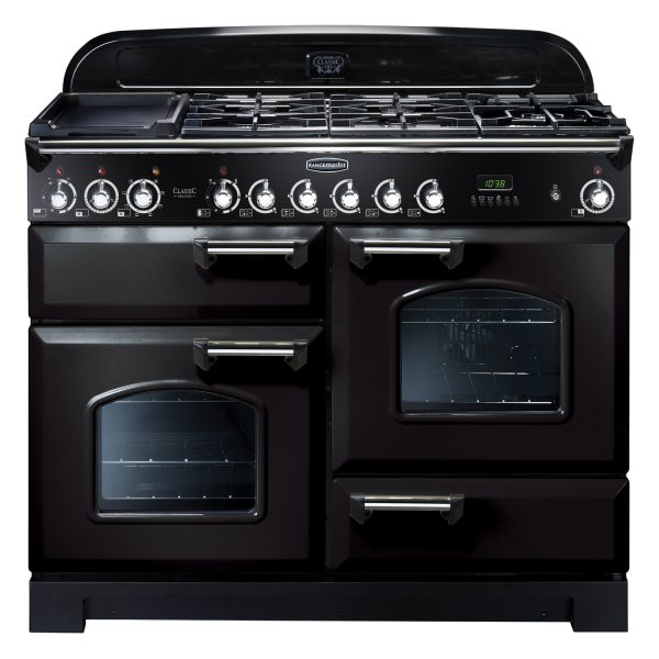 Rangemaster CDL110DFFBL/C Classic Deluxe 110 Dual Fuel Range Cooker Black & Chrome