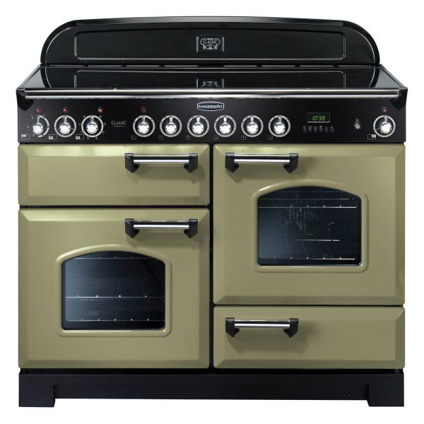 Rangemaster CDL110ECOG Classic Deluxe 110 Ceramic Range Cooker Olive Green & Chrome