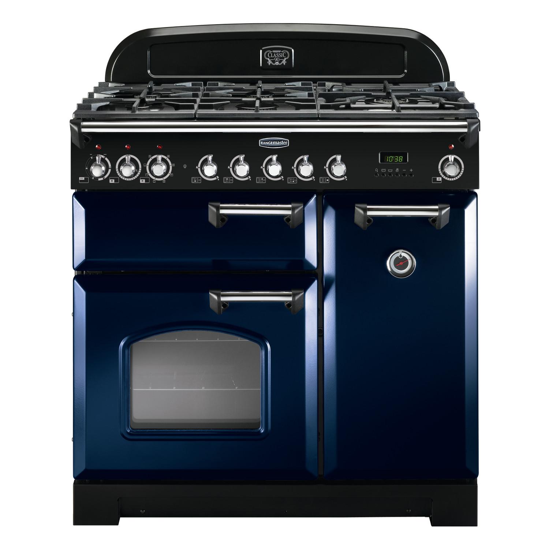 Rangemaster CDL90DFFRB/C Classic Deluxe 90 Dual Fuel Range Cooker – Regal Blue & Chrome