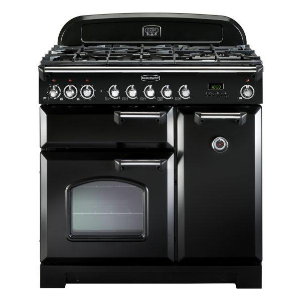 Rangemaster CDL90DFFBL/C Classic Deluxe 90 Dual Fuel Range Cooker – Black & Chrome