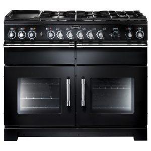 Rangemaster EXL110DFFBL Excel 110 Dual Fuel Range Cooker In Gloss Black