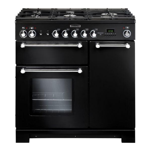 Rangemaster KCH90DFFGB Kitchener 90 Dual Fuel Range Cooker Black & Chrome