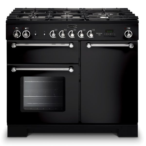 Rangemaster KCH100DFFGB Kitchener 100 Dual Fuel Range Cooker Black & Chrome