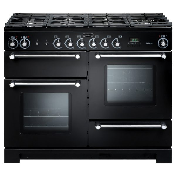 Rangemaster KCH110DFFGB Kitchener 110 Dual Fuel Range Cooker Gloss Black