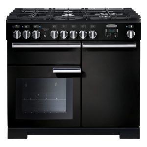 Rangemaster PDL100DFFGB/C Professional Deluxe 100cm Dual Fuel Range Cooker – Gloss Black