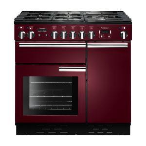 Rangemaster PROP90DFFCY/C Professional Plus 90 Dual Fuel Range Cooker In Cranberry