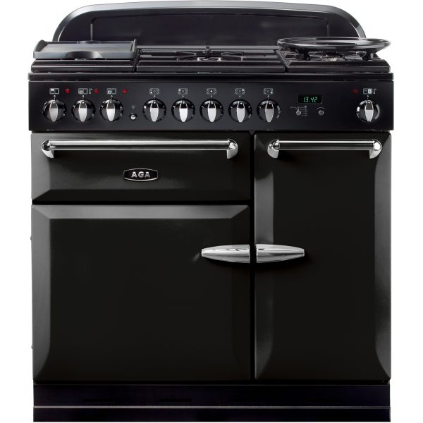 AGA MENMSF_BLK Masterchef XL Dual Fuel Black Range Cooker 90cm