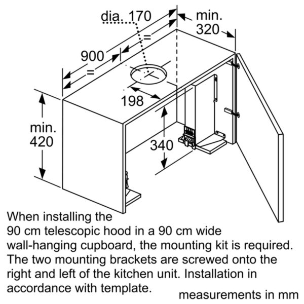 Neff D49PU54X0B Telescopic Hood 90 cm Wide