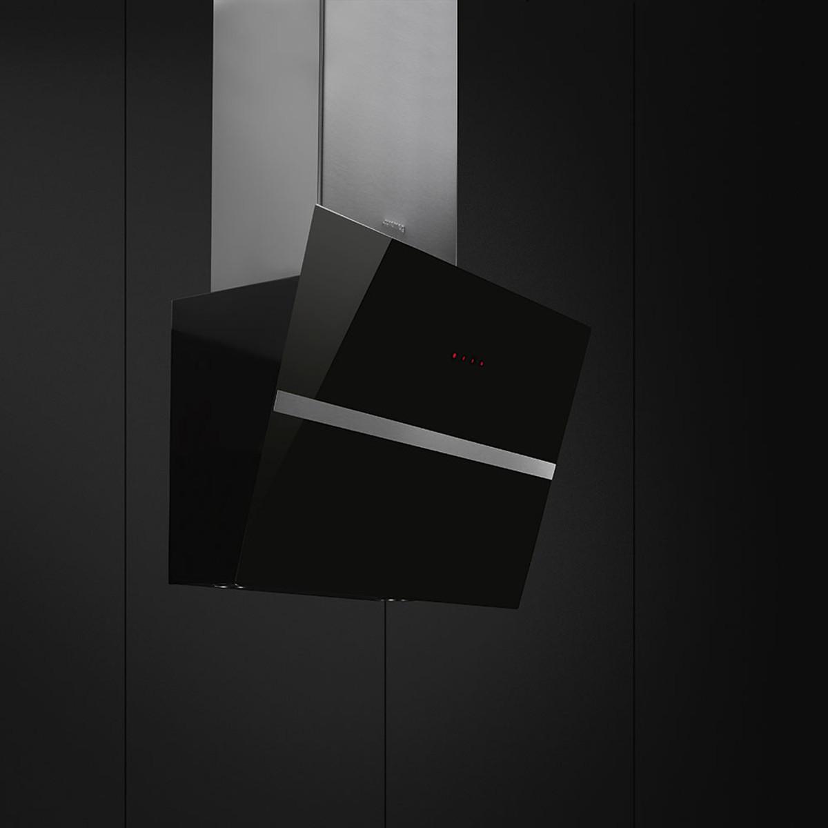 Smeg KCV60NE New 60cm Angled Chimney Hood, Black Glass