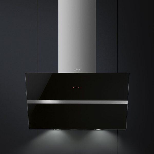 Smeg KCV80NE New 80cm Angled Chimney Hood, Black Glass