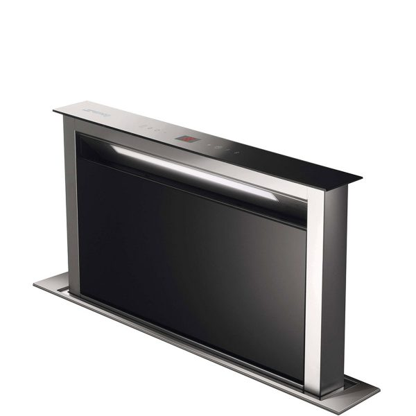 Smeg KDD60VXE-2 New 60cm Island Downdraft Hood, Stainless steel and black glass