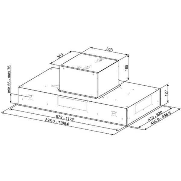Smeg KSEG90VXNE-2 New 90cm Ceiling Hood, Stainless Steel and Black dimensions