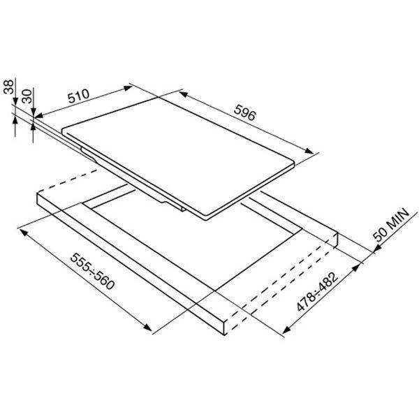 "Smeg P64ES Piano Design Aesthetic 60CM ""Piano Design"" gas hob, polished stainless steel spec"