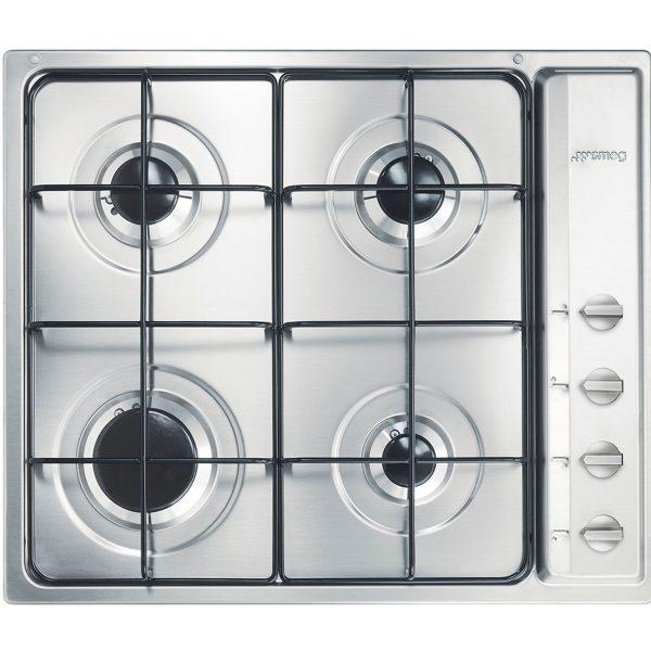 Smeg S64S Cucina Aesthetic 59cm Gas Hob, Stainless Steel