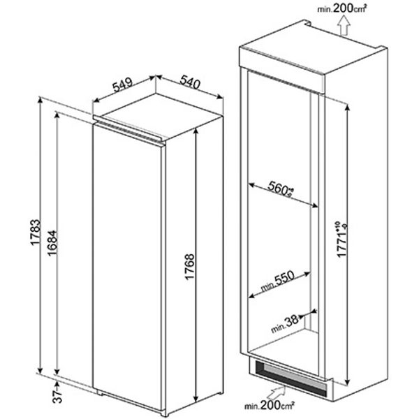 Smeg S7323LFEP Single Door Refrigerator, Built-In spec