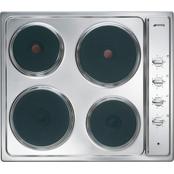 Smeg SE435S Cucina Aesthetic 58cm Electric Hob, Stainless Steel