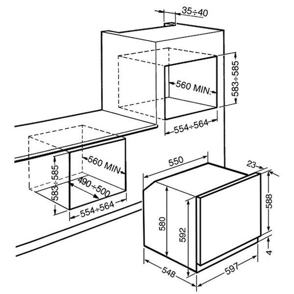 Smeg SF485N Cucina Aesthetic 60cm Multifunction Oven, Black spec