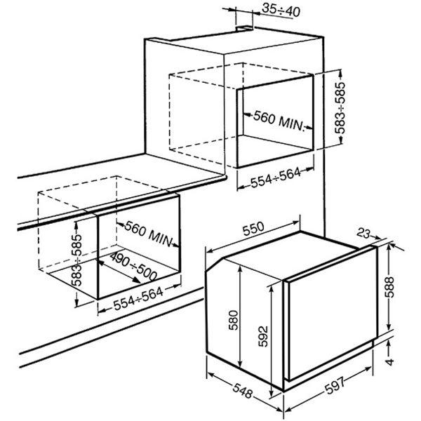 Smeg SF6371X Classic Aesthetic cm Multifunction Oven spec