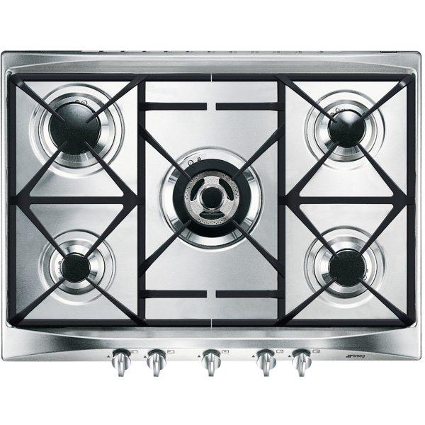 Smeg SR275XGH Cucina Aesthetic 69cm Gas Hob, Stainless Steel