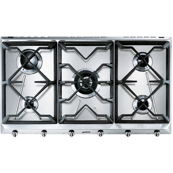 Smeg SRV596GH5 Cucina Aesthetic 89cm Gas Hob, Stainless Steel