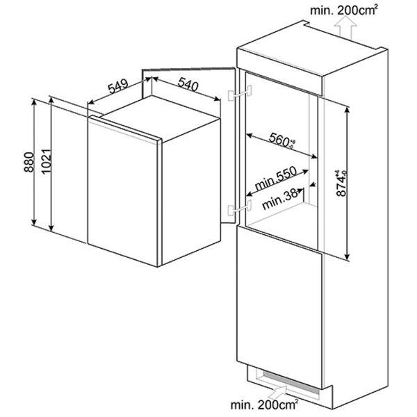 Smeg UKS3F0922P New In Column Freezer Energy Efficiency Class A++ spec