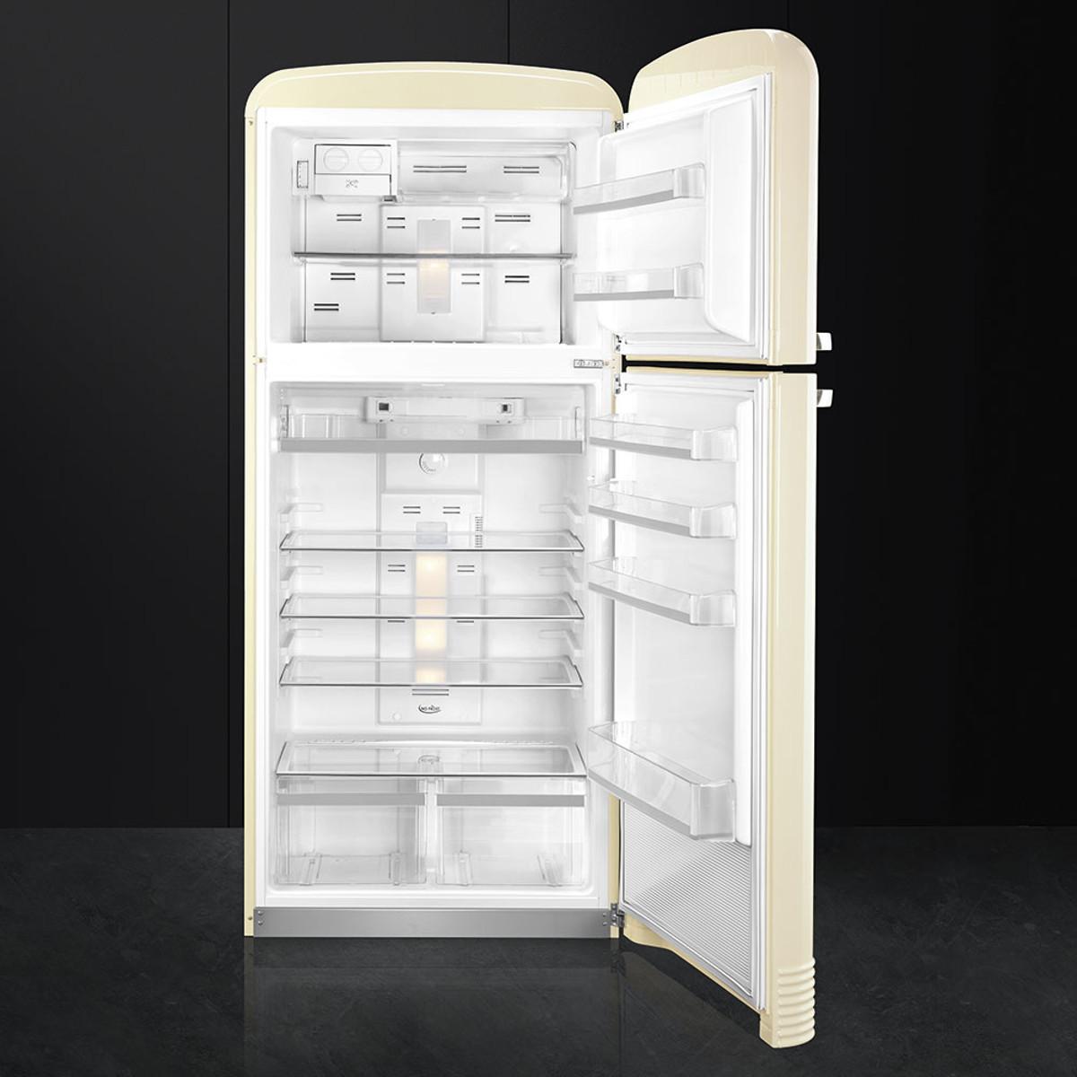 Smeg Fab50rcr Retro Style Fridge Freezer In Cream Rh Hinge Open View