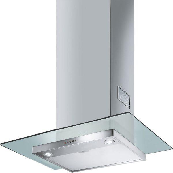 Smeg KFV62DE 60cm Chimney Hood Stainless Steel and Clear Glass