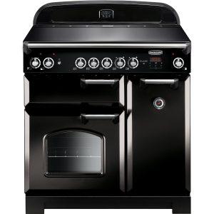 Rangemaster CLA90ECBL/C Classic 90 Ceramic Range Cooker – Black & Chrome