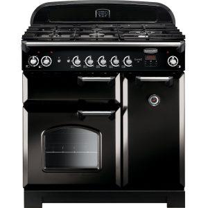 Rangemaster CLA90DFFBL/C Classic 90cm Dual Fuel Range Cooker – Black & Chrome