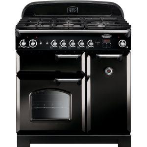 Rangemaster CLA90NGFBL/C Classic 90 All Natural Gas Range Cooker – Black & Chrome