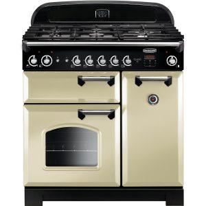 Rangemaster CLA90NGFCR/C Classic 90 All Natural Gas Range Cooker – Cream & Chrome