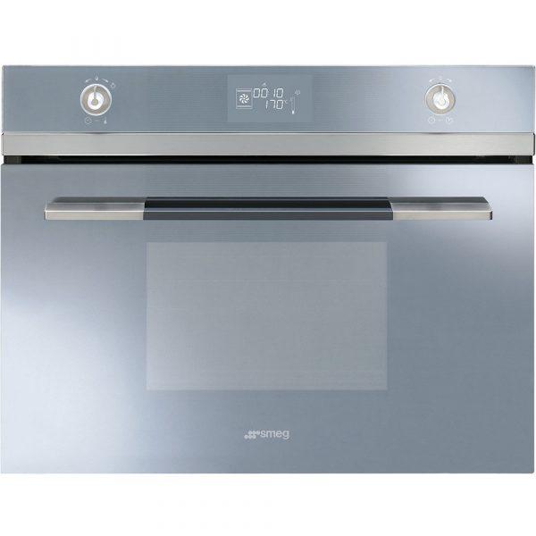 Smeg SF4120VCS 60cm Linea Compact Combination Steam Oven, Silver Glass