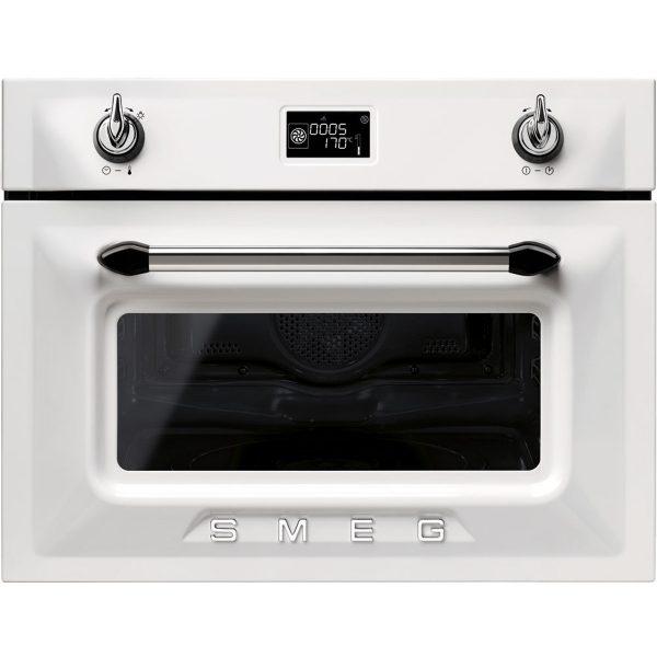 Smeg SF4920MCB Victoria Compact Combination Microwave Oven, White