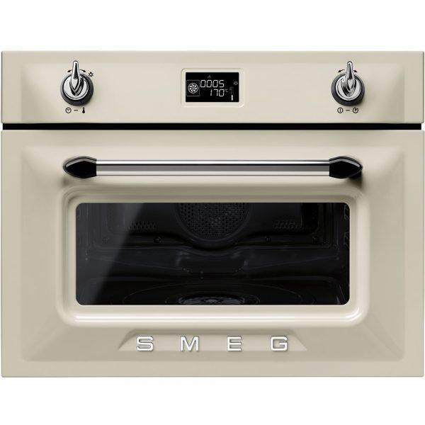 Smeg SF4920VCP 60cm Victoria Traditional Compact Combination Steam Oven, Cream